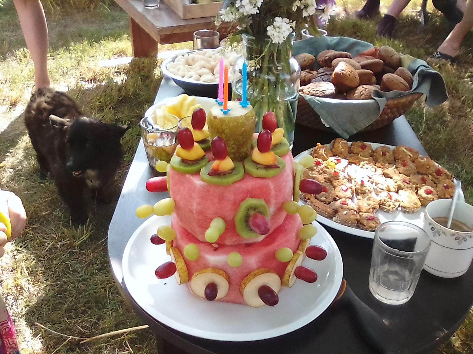 Melounový dort na zahradní party s dětmi